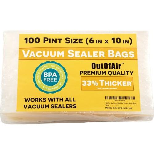 "OutOfAir 6"" x 10"" (Pint size) - 4 Mil - Commercial Grade Vacuum Sealer Bags - 100 Bags"
