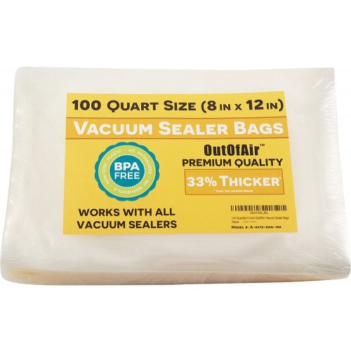 "OutOfAir 8"" x 12"" (Quart size) - 4 Mil - Commercial Grade Vacuum Sealer Bags - 100 Bags"