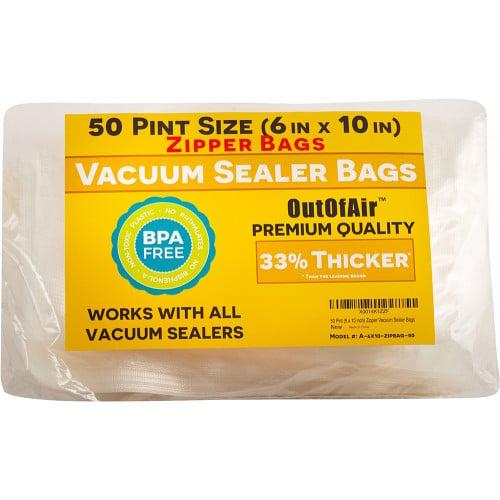 "OutOfAir 6"" x 10"" (Pint size) - 4 Mil Zipper - Commercial Grade Vacuum Sealer Bags - 50 Bags"